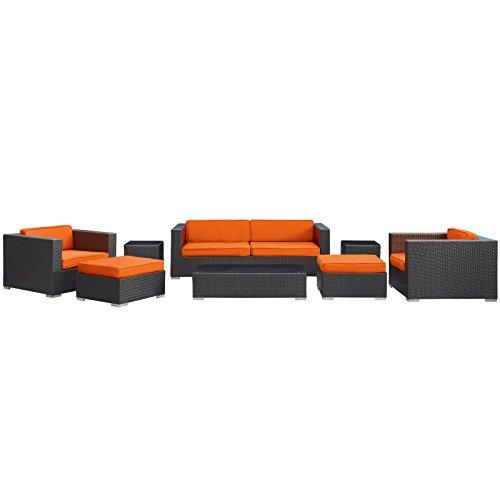 LexMod Venice 8-Piece Outdoor Rattan, Espresso with Orange Cushions