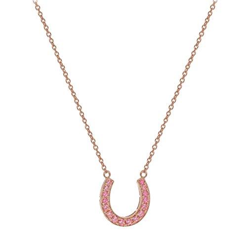 Myia Passiello simboli, colore: rosa, placcata in oro rosa con zirconi Swarovski 16,28--Collana con ciondolo a ferro di cavallo, lunghezza 40,64 cm