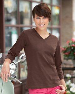 LAT Sportswear Women's Ringspun V-Neck 3/4 Sleeve T-Shirt