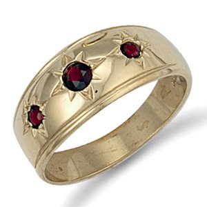 9ct Yellow Gold 23mm 3 Stone Gents Garnet Ring