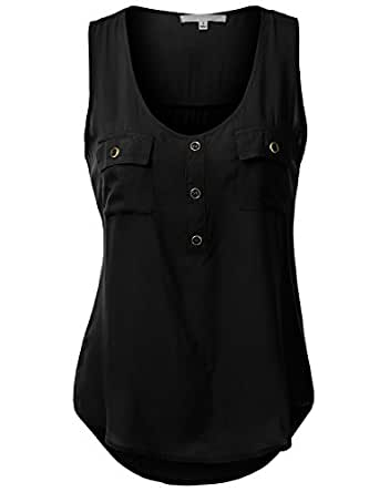 J.TOMSON Womens Sleeveless Blouse w/ Pockets BLACK SMALL
