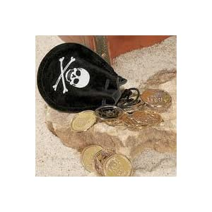 One Dozen (12) Pirate Drawstring Bags with Gold Coins $14.99
