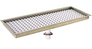 "FDT-5508-TH - 8"" Flush Mount Stainless Steel Drip Tray - Threaded Drain"