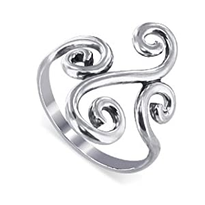 swirl design band polished sterling silver ring
