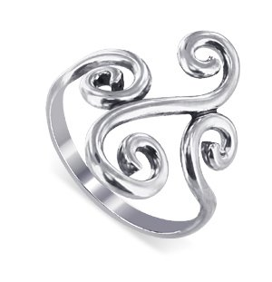LWRS124-5 .925 Sterling Silver Swirl Design 2mm Wide Band Polished Finished Ring Size 5, 6, 7, 8, 9