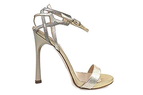 scarpe donna GUIDO SGARIGLIA 39 EU sandali platino pelle AP795