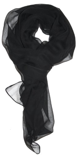 LibbySue-Silk Blend Oblong Chiffon Scarf in Solid Colors of Black