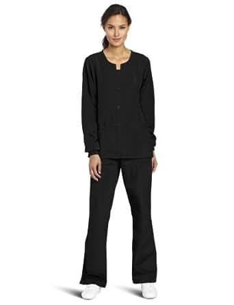 WonderWink Women's Scrubs Four Way Stretch Sporty Snap Jacket, Black, X-Small