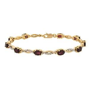 18K Gold over Silver Diamond Accented Garnet Swirl Bracelet