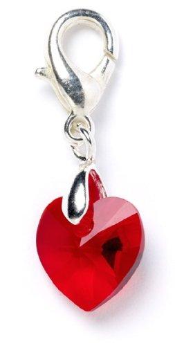 Red Swarovski Element Crystal Heart Clip on Charm