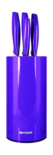 Art+Cook 6 Piece Premium Knife Set with Universal Storage Block, Purple