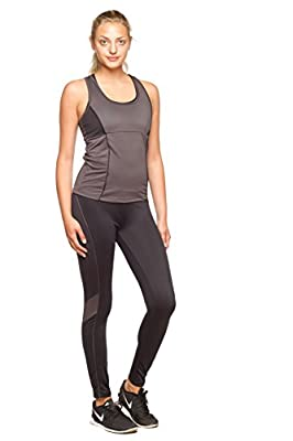 AQ Sport Women's Fitness Tank and Active Leggings 2 Piece Matching Gym Tracksuit
