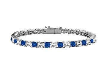 Blue Sapphire Diamond Princess Cut Platinum Tennis Bracelet 3.00 CT TGW