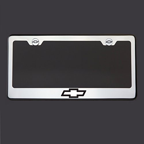 Black Lettering Laser Engraved Mirror Polish Stainless Steel Chevy Logo License Plate Frame Holder Front Or Rear Bracket Steel Chrome Screw Cap (Register Chevy compare prices)