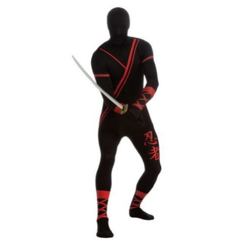 Mens Black Ninja 2nd Skin Suit Adult Full Body Stretch Jumpsuit