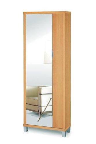 Shiito zapatero de una puerta con espejo color wengu for Espejo zapatero amazon