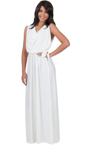 Koh Koh Women's Cowl Neck Drape Front Sleeveless Maxi Dress – X-Large – Off-White