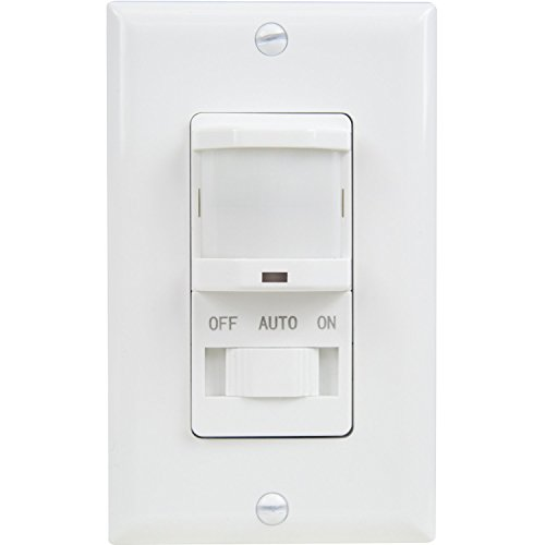 TOPGREENER TSOS5-W In Wall PIR Motion Sensor Light Switch, Single-Pole, Fluorescent 500VA/ Motor 1/8Hp / Incandescent 500W NEUTRAL WIRE REQUIRED, White (Motion Light Switch Fan compare prices)