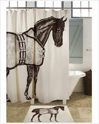 Bathroom Accessories Sets Fabric Shower Curtains Coordinating Bath Rugs Equestrian Horse Decor