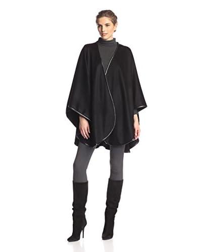 Sofia Cashmere Women's Cashmere Leather Trim U-Cape, Black, One Size