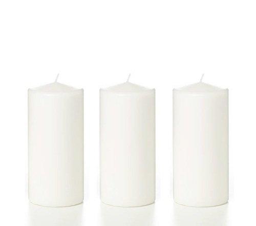 Premium 6 Tall Wax Set of 3 Medium Pillar Unscented Candles White Gift Boxed - ErnestoLPospisil