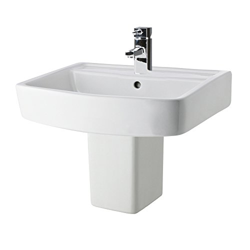 Premier Gloss White Bliss Square Ceramic 520mm Basin/Sink 1TH And 300mm Semi Pedestal In Contemporary Style, One Tap/Faucet Hole For Bathroom, Cloakroom, En Suite