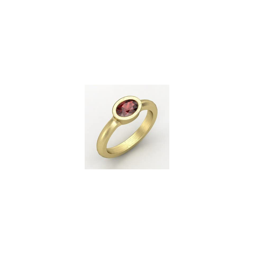 Byzantium Ring, Oval Red Garnet 14K Yellow Gold Ring