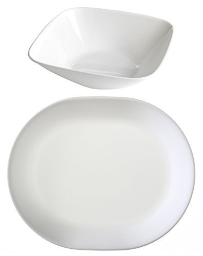 Corelle Square Pure White Serving Bowl and Livingware Winter Frost White Serving Platter Set (Corelle Oval Serving Plate compare prices)
