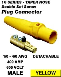 Leviton 16D24-Y Single Pole Cam Type Plug Detachable Male Double Set Screw Complete 16 Series Taper Nose 1/0-4/0 Awg 400 Amp - Yellow (Pkg Of 5)
