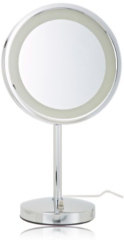 Jerdon HL1015CL 9.5-Inch Tabletop LED Halo Lighted Mirror with 5x Magnification and Built-In Electrical Outlet, 17-Inch Height, Chrome Finish