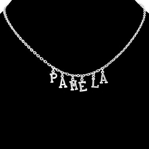 "Custom Personalized Nameplate Necklace, 6 Letters, Each 5/16"", Made In Usa!, In Silver Tone"