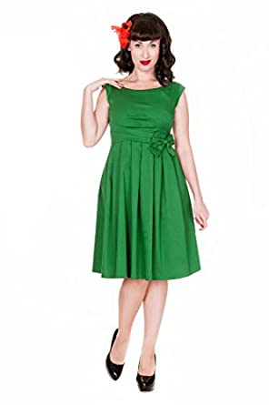 Lindy Bop 'Lucille' Chic 50's Vintage Style Plissé Rock N Roll Partie Robe Dress (36, Vert)