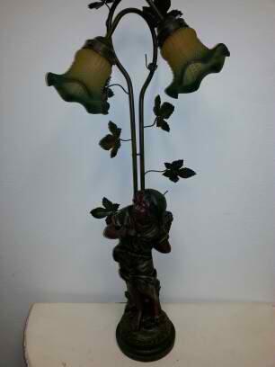 Classic European Girl Carrying Basket Statue Sculpture Figurine Table Desk 2 Light Lamp