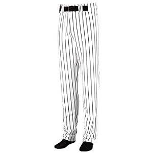 Striped Open Bottom Baseball Softball Pants - 3XL - BLACK & WHITE by Augusta