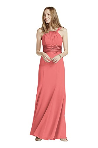 Chiffon and Charmeuse Bridesmaid Dress with Rounded Neckline Style F12732,...