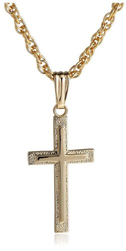 14k Yellow Gold Filled Cross Pendant, 18""