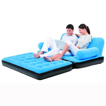 Inflatable Multifunction Air Sofa & Double Bed Mattress Chair With Pump (Blue)
