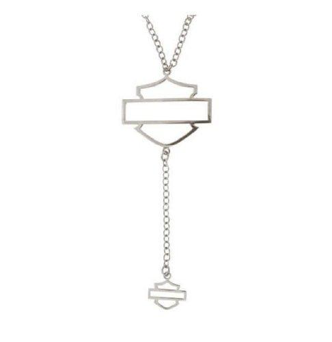 Harley-Davidson® Stamper® Women's Sterling Silver Bar and Shield Necklace. HN7400