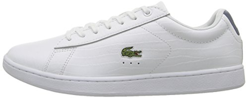 Lacoste Women's Carnaby Evo G316 8 Fashion Sneaker, White/Blue, 7 M US