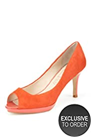 Autograph Wide Fit Peep Toe Platform Court Shoes with Insolia ®