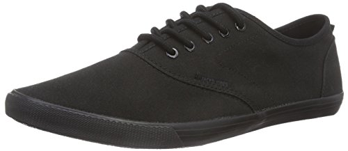 JACK & JONES Jjspider Canvas Sneaker Triple Black, Low-Top Sneaker uomo, Nero (Nero (nero)), 44