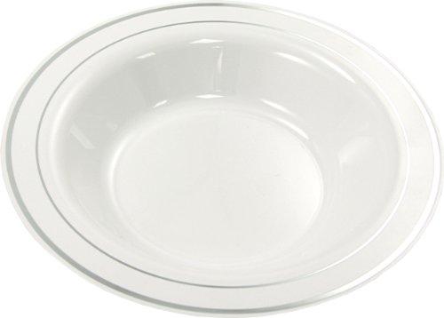 MOZAIK Lot de 20 assiettes creuses en plastique Argenté 23 cm