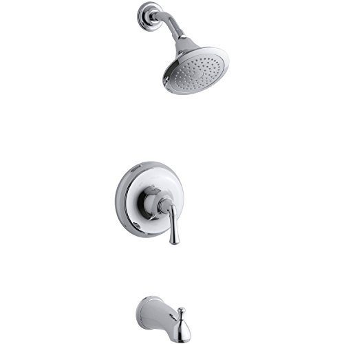 Kohler Forte Polished Chrome Single Lever Handle Tub & Shower Combo Faucet (Kit Includes Rough-in Valve) 8881497V (Kohler Shower Package compare prices)