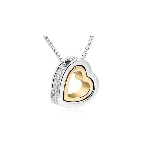 SCORPIUS GIFTS Metal Jewelled Rhinestone Double Hearts Necklace Pendant In FREE Organza Gift Bag - (SILVER & GOLD...