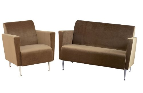 Buy Low Price Adesso 2pc Club Chair & Loveseat Sofa Set in Memphis Olive Brown Polyester Velvet (Livset-WK4221-4225BN)