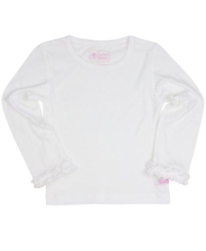 RuffleButts® Infant / Toddler Girls Ruffled Long Sleeve Undershirt Tee - White - 12-18m