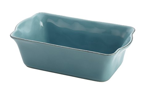 Rachael Ray Cucina Stoneware 9-Inch x 5-Inch Loaf Pan, Agave Blue