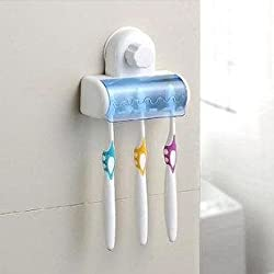Okayji 5 Toothbrush Wall Mount Tooth brush Holder With Suction Cup