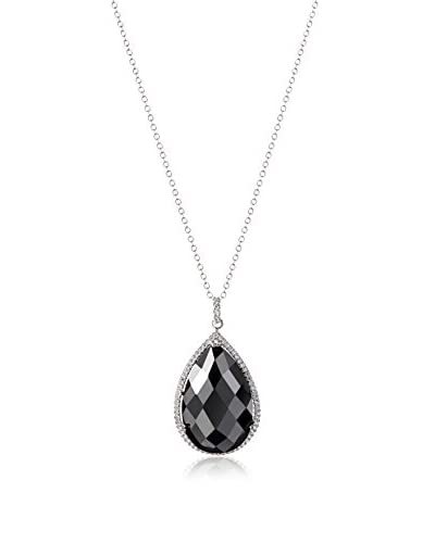 CZ by Kenneth Jay Lane Hematite Color Cubic Zirconia Pendant Necklace