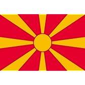 マケドニア 国旗 [ ミニフラッグ ポール 吸盤付き 高級テトロン製 ]